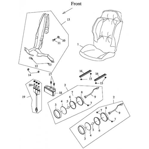Seat, Head Light (Adly GK-125 (BK-125) 2005)